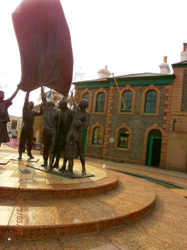 Another view of the Liberation Sculpture.