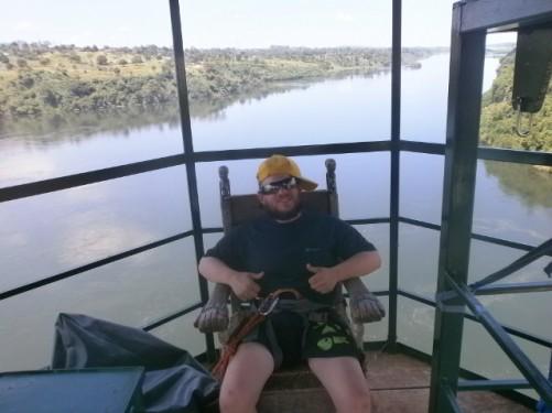 Tony preparing to bungee jump. River Nile at Jinja. 13th November.