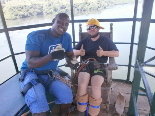 Tony with a local guy waiting to bungee jump. 13th November.