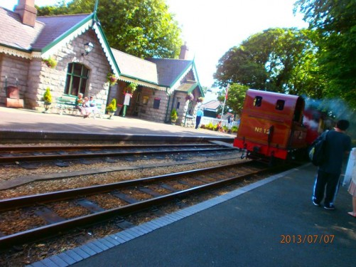 A steam train arriving at Castletown station. This narrow gauge railway runs 15.3 miles from Douglas to Port Erin.