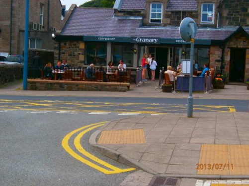 The Granary café in Somerled Square, Portree. Portree is the largest town on Skye in the Inner Hebrides.
