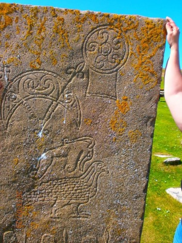 A stone slab carved with Pictish symbols. The symbols include an eagle.