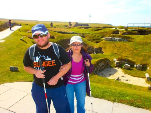 Tony and Tatiana at Skara Brae. Another glimpse of the site behind them.