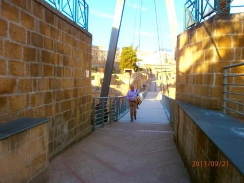 A walkway down into ancient Herculaneum.