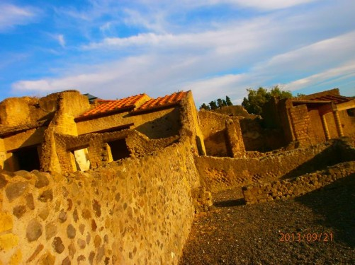 Ruined walls of ancient buildings.