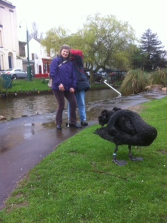 Tony with his sister Annette. A black swan in front.