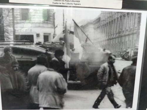 Inside the museum. A photograph showing tanks in Liberty Square (Piața Libertății) during the 1989 revolution.