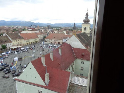 An excellent view down into Grand Square from the top of Council Tower (Turnul Sfatului) in the square's northeast corner. The tower is one of the city's symbols and this former fortification tower dating from the late 13th century has been successively rebuilt over the centuries.