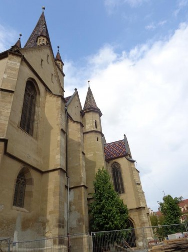 The stone façade of the Evangelical Cathedral.