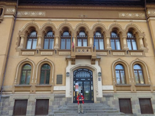 Tony on the entrance steps of the George Bariţiu Library. This was the first public library in Brașov. The building dates from the early 20th century and is Art Nouveau in style. The library has been housed here since 1969.