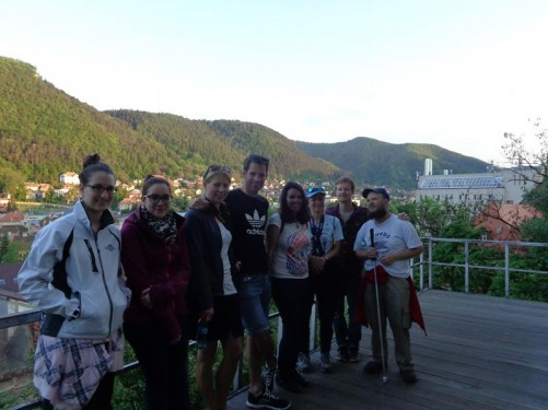 Tony with other participants in the free walking tour on Warthe Hill (Staja Hill).