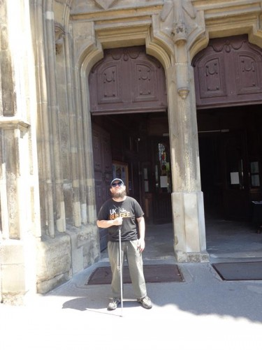 Tony outside the main double doorway into St Michael's Church in Union Square.