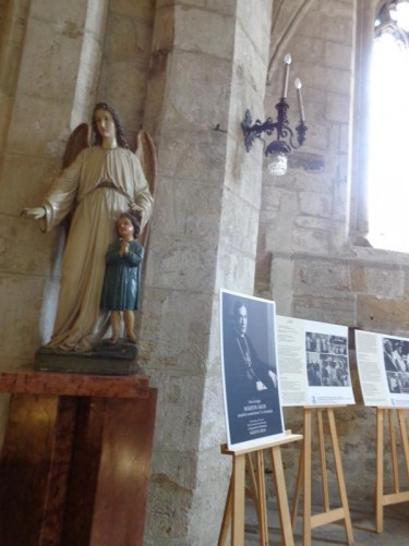 Inside St Michael's Church. A sculpture of the Virgin Mary and Child.