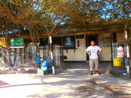 Afternoon. Tony outside Zebra Bar in downtown Dar es Salaam.