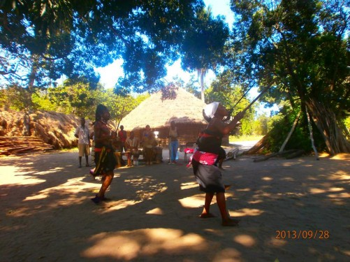 Two women doing a traditional tribal dance. This also included singing accompanied by drums.