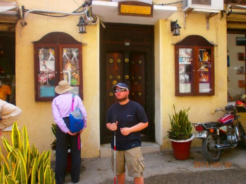 Tony outside 'Mercury House'. Located on Kenyatta Road, Stone Town, Freddie Mercury, alias Farrokh Bulsara, was allegedly born here on 5th September 1946.
