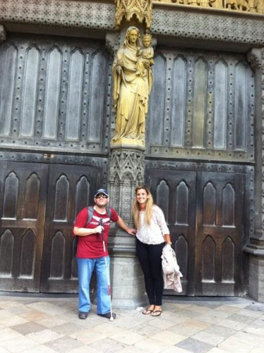 Tony and Giselle at the Great North Door of Westminster Abbey.