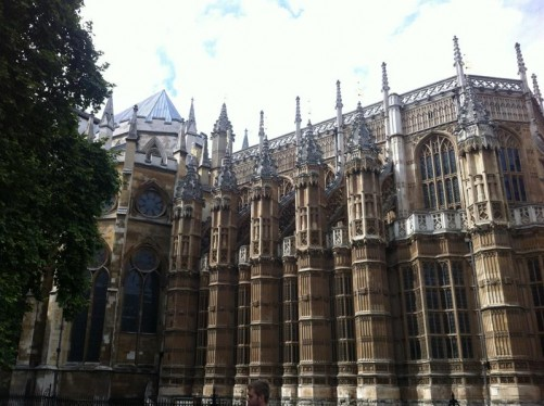 Flying buttresses topped with turrets along the south-west wall of Westminster Abbey.
