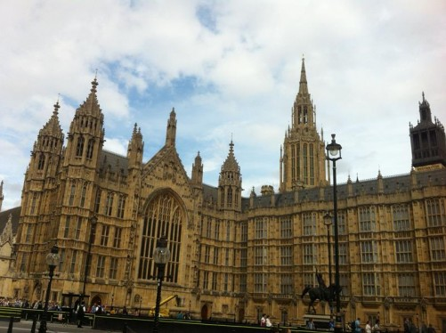 The west side of the Palace of Westminster (commonly known as the Houses of Parliament).