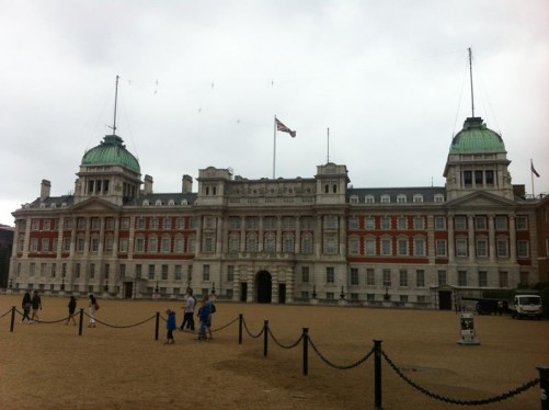 The Old Admiralty on the north side of Horse Guards Parade. This large building is constructed in white stone and red brick and dates from the late 19th century.