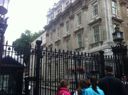The gates into Downing Street from Whitehall.