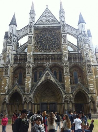 Outside the North Entrance to Westminster Abbey. Construction of the abbey began in the 12th century on the site on an older church. This is the traditional place of coronation and burial for British monarchs.