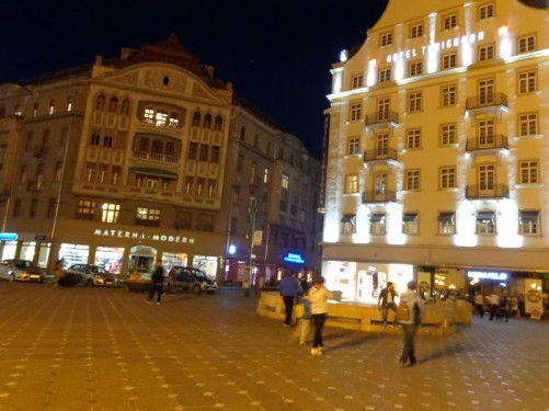 At the north end of Victory Square with Hotel Timișoara on the right and the Weiss Palace (Palatul Weiss) on the left. The Weiss Palace was built from 1912 by the Weiss family, who were local doctors and businessmen.