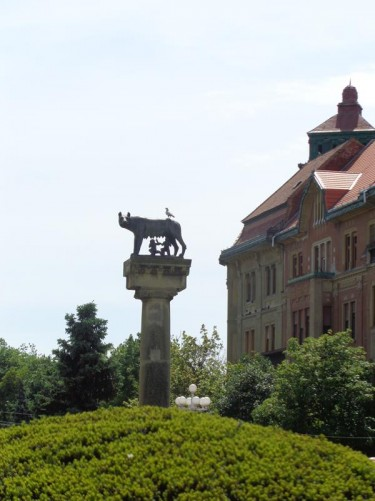A bronze statue of Romulus and Remus being suckled by a she-wolf, standing on top of a pillar in the centre of Victory Square. This was a gift from the Italian government erected in 1926.