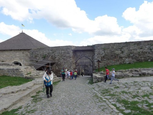 Now inside the inner courtyard of Kamianets-Podilskyi Castle. Looking back towards the large wooden gate through the walls.