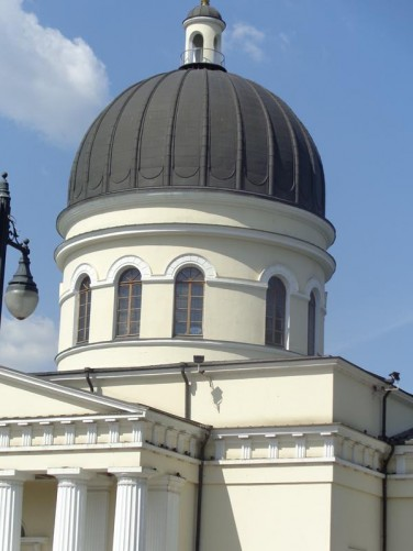 The central dome of the Nativity Cathedral. This is the main cathedral of the Moldovan Orthodox Church. It was built in the 1830s in Neoclassical style.