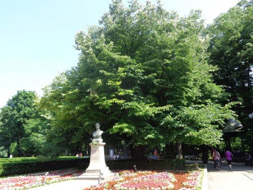 View of Copou Park with a stone bust of Mihai Eminescu visible in front. Mihai Eminescu (1850-1889) was a romantic poet and novelist - often regarded as the most influential Romanian poet.