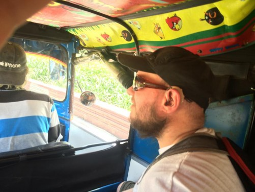 Tony inside the bajaj.