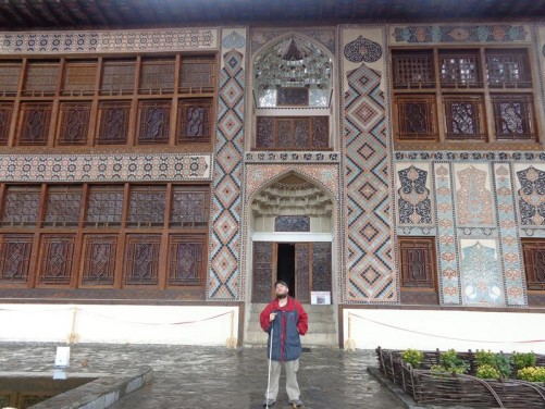 The impressive front façade of the Palace of Shaki Khans. The palace was built between 1789 and 1797 by Muhammed Hasan Khan as a summer residence. The exterior walls are decorated with tiles in geometric patterns as well as stained-glass windows.
