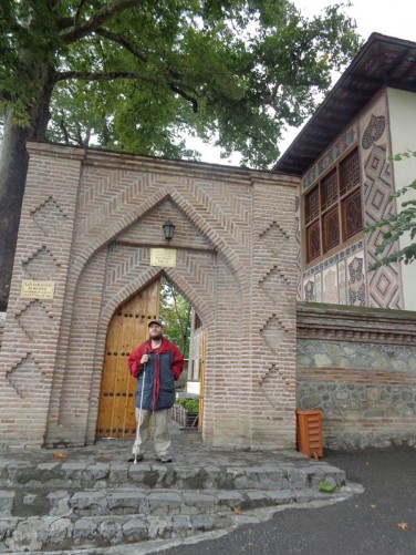 Tony at an entrance gate into the Palace of Shaki Khans.