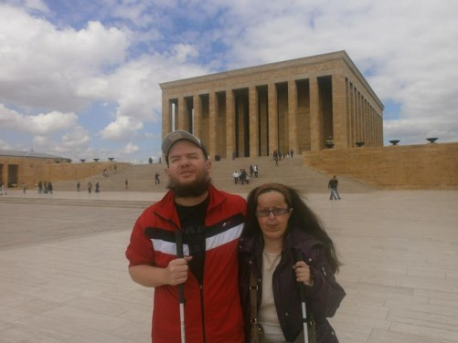 Tony and Tatiana at the Anitkabir, the mausoleum of Mustafa Kemal Atatürk, the founder and first president of the Republic of Turkey. The mausoleum complex is located on a hill to the west of the centre. The site was constructed in stages between 1944 and 1953. Millions of people visit the mausoleum each year.