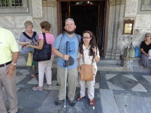 Tony and Tatiana outside the main doorway into the Church of Panayia.