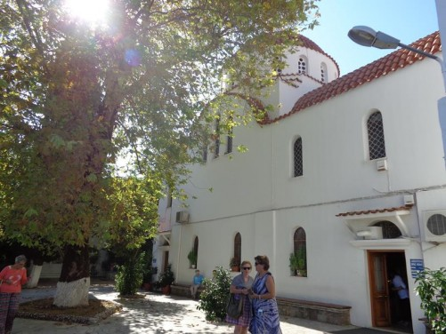Outside the Monastery of Agios Raphael. Located close to the village of Thermi, on the hill of Karyes, north-east Lesbos.