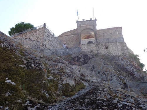 View of the rock on which the church sits. The church is reached by 114 steps cut into the stone.