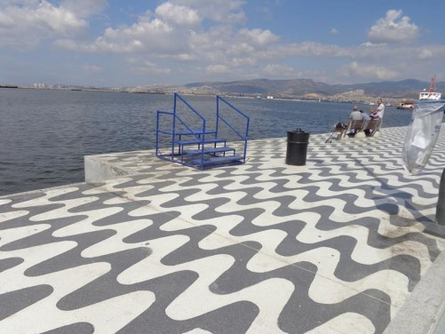 View across the bay from Izmir's sea front promenade.