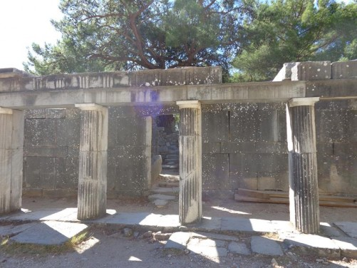 Stone columns outside a ruined building within Priene's theatre.