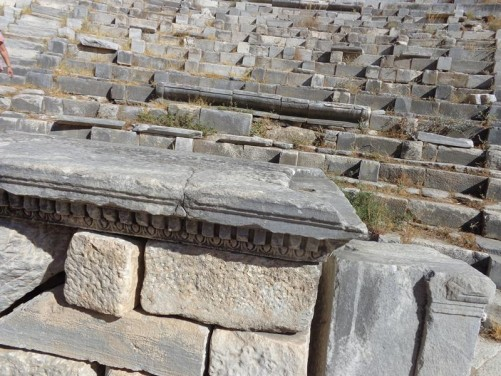 Another view of the theatre. Rows of well preserved stone seats. There were originally 22 tiers of seats in the lower storey and 25 in the upper accommodating perhaps 5,000 spectators.