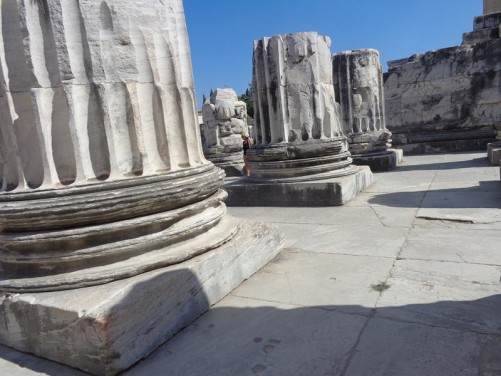 The bases of massive stone columns at the Temple to Apollo.
