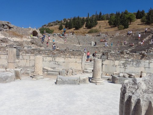 The Odeon at Ephesus. A semi-circular theatre built into the hillside. Constructed in the 2nd century AD.