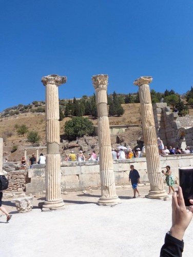 A row of three stone columns on Curetes Street close to the upper entrance.