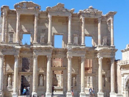 The front façade of the Celsus Library. One of Ephesus's most impressive sites. This two storey library was built in around 117 AD.