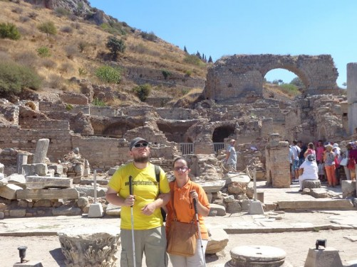 Tatiana and Tony in front of ruins close to the Celsus Library.