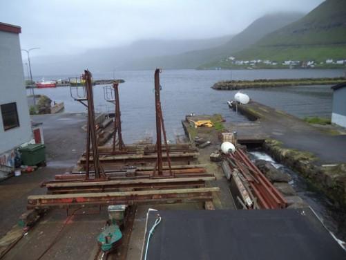 A slipway at Fuglafjørður's harbour.