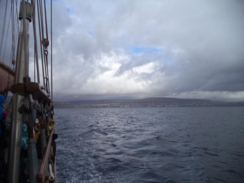 View from the boat back towards Tórshavn, which is now off in the distance.