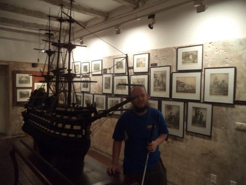 Model of a Spanish galleon warship, beautifully carved in intricate detail.