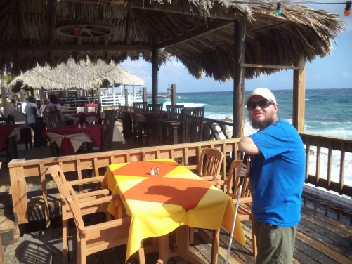 Tony at a restaurant sea terrace, Fort Amsterdam, Willemstad.